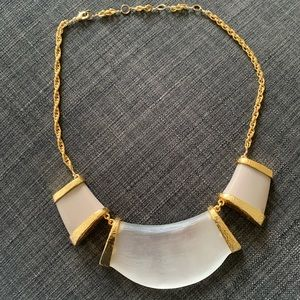 ALEXIS BITTAR Taupe 3-Part Link Lucite Necklace